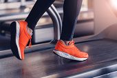 Comfortable Sports Shoes For Running In The Gym. Jogging Shoes For Running On A Treadmill. Safety Wh poster