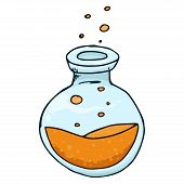 Jar With Orange Liquid And Bubbles Hand Drawn. Vector Illustration Of A Jar. Jar With Bubbles Icon. poster