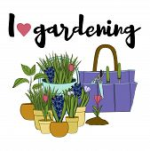 Vector Hand Drawn Gardening Banners With Tools, Plants, Flowers, Cutter, Shovel, Rake And Lettering  poster