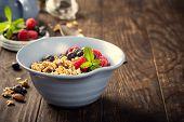 Homemade Oatmeal Granola Or Muesli With Yogurt And Fresh Berries For Healthy Morning Breakfast, Sele poster