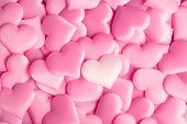 Valentines Day hearts Background. Holiday Abstract Valentine Background with pink satin Heart. Hear poster