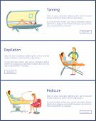 Tanning Spa Salon Procedures Pedicure Set Of Posters With Text Sample Vector. Depilation With Wax St poster
