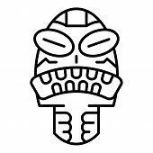 Angry Tribal Idol Icon. Outline Angry Tribal Idol Vector Icon For Web Design Isolated On White Backg poster