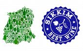 Vector Collage Of Wine Map Of Sikkim State And Best Grape Wine Grunge Seal. Map Of Sikkim State Coll poster