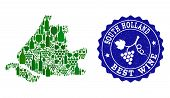 Vector Collage Of Wine Map Of South Holland And Best Grape Wine Grunge Seal Stamp. Map Of South Holl poster