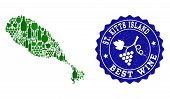 Vector Collage Of Wine Map Of St Kitts Island And Best Grape Wine Grunge Stamp. Map Of St Kitts Isla poster