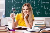 Young female student in front of the chalkboard   poster