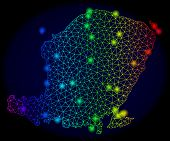 Bright Mesh Vector Map Of Lombok Island With Glare Effect. Light Spots Have Bright Spectrum Colors.  poster