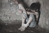 The Child Is Bound By A Rope, Stop Child Violence And Trafficking. Stop Violence Against Children, C poster