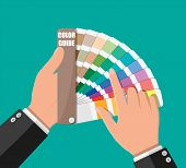 Color Swatch. Color Palette Guide In Hand. Colorful Scale. Rainbow Tool For Designer, Photographer,  poster