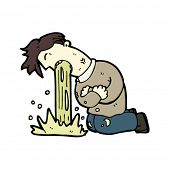 stock photo of puke  - vomiting man cartoon - JPG