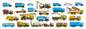 A Large Set Of Construction Equipment, Wheeled Transport. Cars Serving The Construction Site. Crane, poster