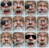 The Different Human Emotions Or Emotional Face Of Santa Clause In Glasses. The Christmas, Holiday, E poster