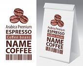 Paper Packaging With Label For Coffee Bean. Vector Label For Coffee With Coffee Bean, Bar Code And T poster