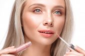 Beautiful Young Girl With A Light Natural Make-up, Lipstick And Nude Manicure. Beauty Face. poster
