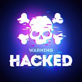 Vector Hacked Glitch Text. Skull And Bones Illustration In Glitch Style On Dark Background. Warning  poster