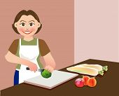 image of cutting board  - A lovely mother is chopping vegetables preparing food for cooking - JPG