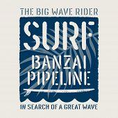 Surfing Artwork. Surfing Hawaii T Shirt Apparel Print Design. Vintage Graphic Tee. Vectors poster