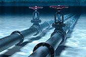 Pipeline Lying On Ocean Bottom Underwater. 3d Rendering poster