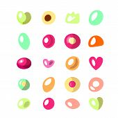 Cute Cartoon Vector Illustration Of Marmalade And Jelly Beans Isolated On White Background. Cute Rou poster