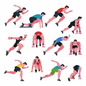 Athlete Vector Athletic People Running And Sprinter Man Character Illustration Sport Training Fitnes poster