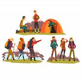 People Travelling Together, Camping , Tourists Camping, Hiking In Mountains, Backpacking Trip Or Exp poster