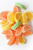 Candy And Jelly Sweet Close Up, Jelly Candy Flavor Fruit, Candy Dessert Colorful On Sugar poster
