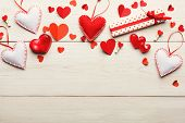 Valentine Background With Handmade Paper, Sewed Pillow Hearts, Giftbox And Soap Bars On White Rustic poster
