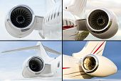 Collection Of Four Jet Engines On Luxury Private Jet Aircraft poster