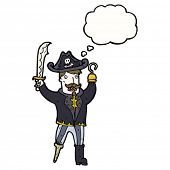 picture of peg-leg  - cartoon pirate captain with hook and peg leg - JPG