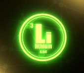 Lithium Chemical Element. Sign With Atomic Number And Atomic Weight. Chemical Element Of Periodic Ta poster