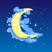 Fun Cartoon Yellow Crescent Moon Among The Stars And Clouds Icon. Yellow Magic Crescent Moon With De poster