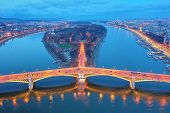 Budapest by night. Hungary - skyline panorama of Budapest in the night. The Danube and the Margaret  poster