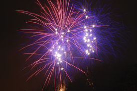 stock photo of guy fawks  - Time exposure of a firework display - JPG