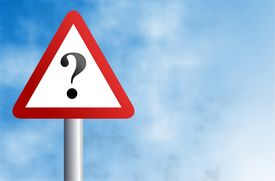 picture of warning-signs  - warning sign with question mark against a sky background - JPG