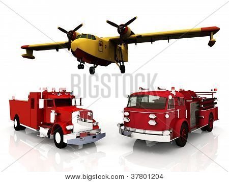 fire machinery on white background