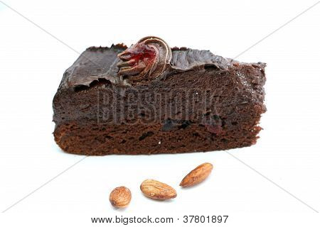 chocolate cake and almonds