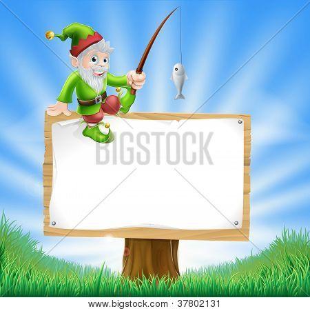 Garden Gnome Or Elf Sign
