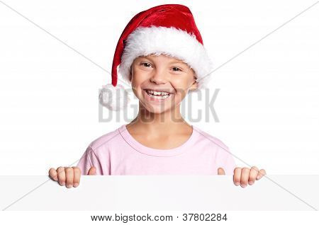 Little boy in Santa hat