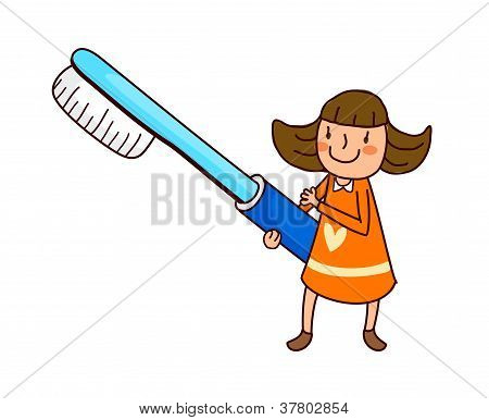 Portrait Of Girl Holding Toothbrush