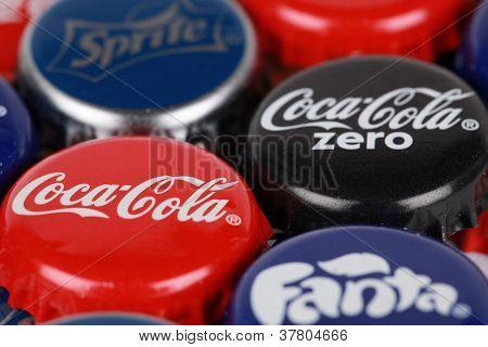 Tapas de botellas de productos Coca-cola