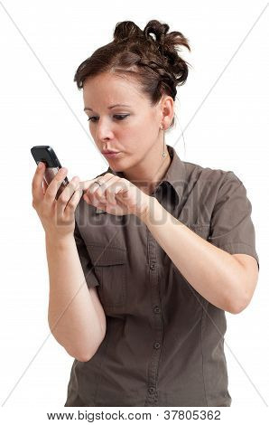 young woman typing SMS