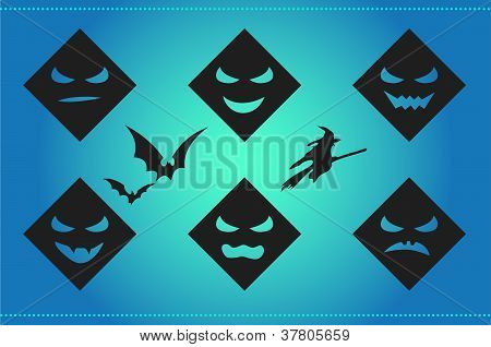 Halloween background with scary faces and silhouettes on cyan