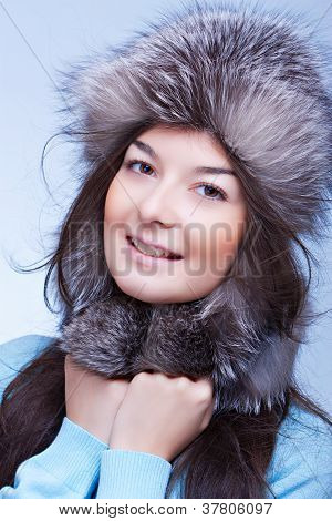 happiest woman in a fur cap