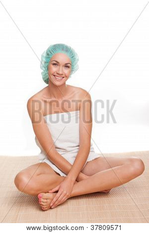 Beautiful Woman In A Shower Cap