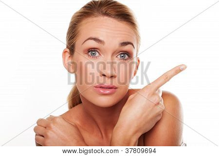 Surprised Woman Pointing Her Finger