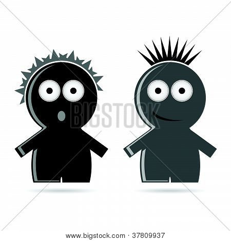Funny Grey And Black People Icon Vector Illustration