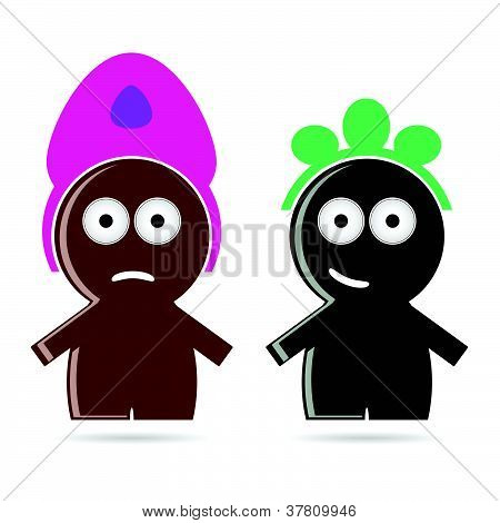 Funny People Icon Color Vector Illustration