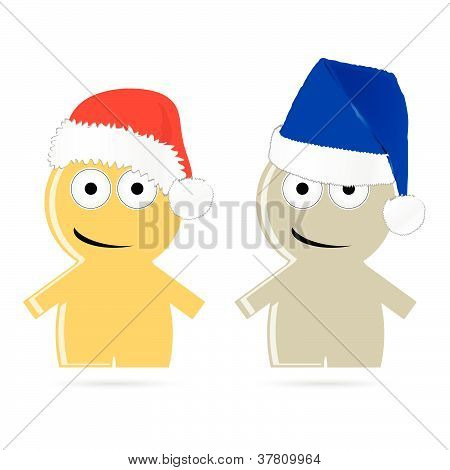 Funny People Icon With Christmas Hat Vector Illustration