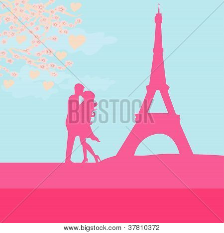 Romantic Couple In Paris Kissing Near The Eiffel Tower